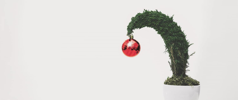 Absurd kleiner, schiefer Weihnachtsbaum mit einer roten Kugel
