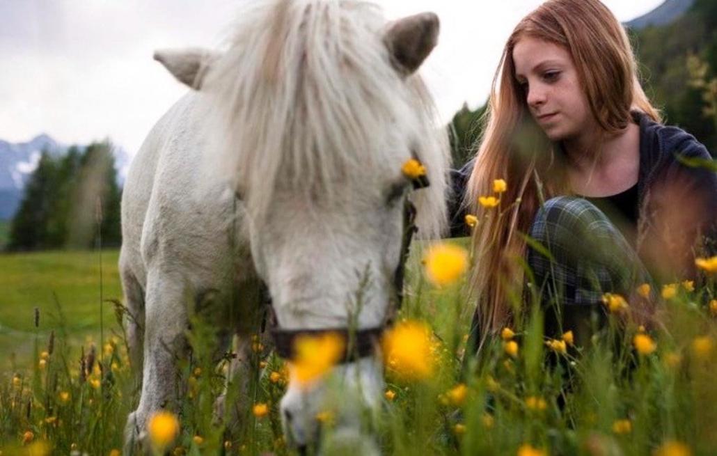 Ein Mädchen mit Pony auf einer Wiese